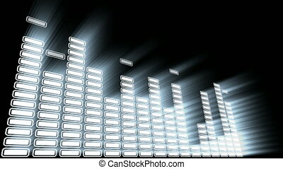 Equalizer 3D with volume light. Concept of sound and music.