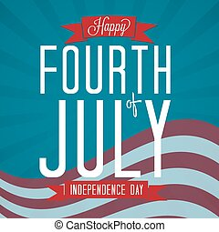 Fourth of July Vector Illustration with Banners and Flag.