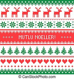 Merry Xmas in Turkish - Winter red and green background for...