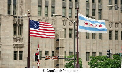 United States and Chicago Flags Waving on Michigan Bridge...