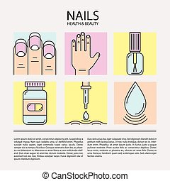 Set of color line icons on the theme of nails