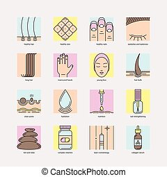 Set of color line icons of  hair, skin and nails
