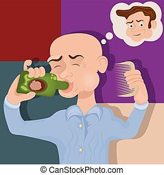 bald man drinking a cure - Vector illustration of a bold man...