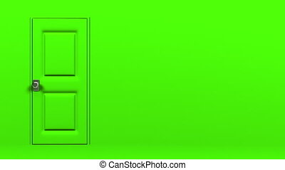Green Door With Text Space And Wall. Abstract 3DCG render...