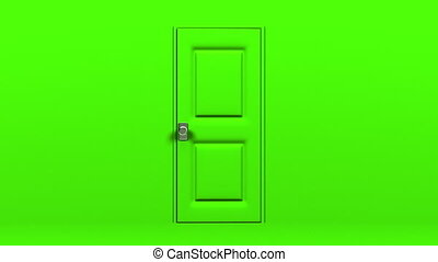 Green Door And Blue Chroma Key Abstract 3DCG render...