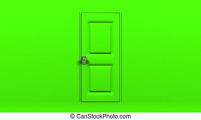 Green Door And Dark Room Abstract 3DCG render Animation