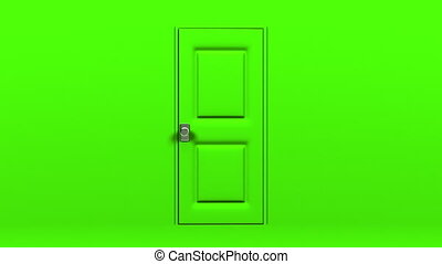 Green Door And Wall Abstract 3DCG render Animation