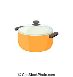 Cooking pan with glass lid icon, cartoon style - Cooking pan...