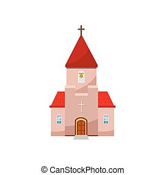 Church icon in cartoon style
