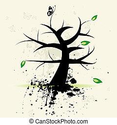 Art tree, grunge background