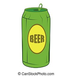 Green beer can icon, cartoon style - Green beer can icon in...