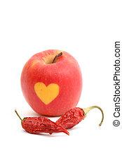 secado, pimentão, pimentas, e, Amor, maçã, ligado, branca,...