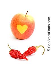 Amor, maçã, secado, fundo, pimentas, pimentão, branca