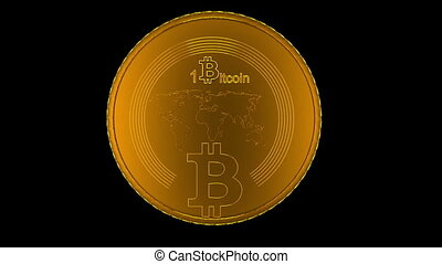 Golden Bitcoin animation - cryptography digital currency...