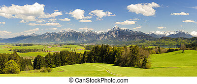 panorama scene with mountains - panorama landscape with alps...