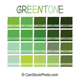 Greentone Color Tone with Name Vector Illustration
