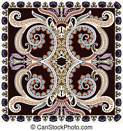 bandanna with large decorative swirls, paisley on dark...
