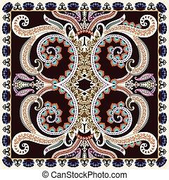 bandanna with large decorative swirls, paisley on dark...