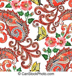 seamless pattern with decorative red paisley, flowers of wild rose with buds in grunge style