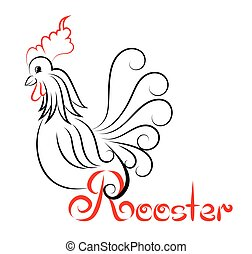 template logo Rooster with swirls with a handwritten inscription