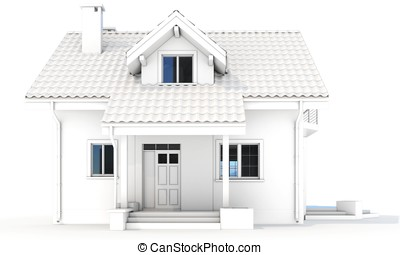 3d contemporary house, villa on a white background 3D...