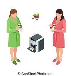 Two woman drinking coffee at home. Flat 3d vector isometric illustration.