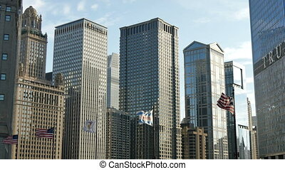 American Flags Waving in Chicago - American Flags Waving...
