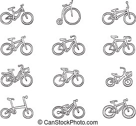 Sketch Icons - Bicycles - Bicycle type icons in sketch
