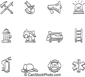 Sketch Icons - Fire Fighter - Fire fighter icons in sketch.