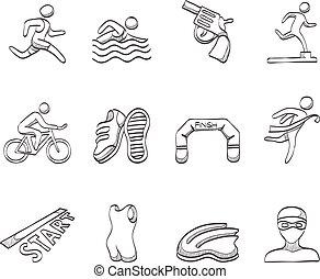 Sketch Icons - Triathlon - Triathlon icon series in sketch