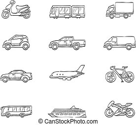 Sketch Icons - Transportation - Transportation icon series...