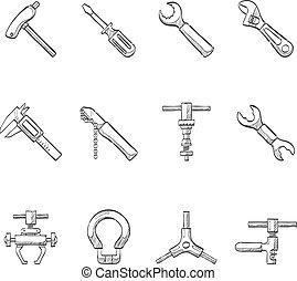 Sketch Icons - Bicycle Tools - Bicycle tools icon series in...