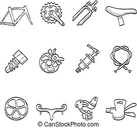Sketch Icons - Bicycle Parts - Bicycle part icons series in...