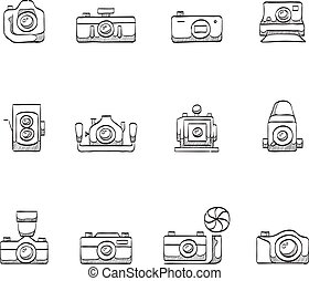 Sketch Icons - Cameras - Camera icons in sketch.