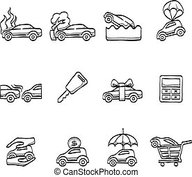 Sketch Icons - Auto Insurance - Car insurance icons in...