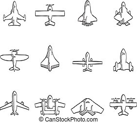 Sketch Icons - Airplanes - Airplane icons in sketch.