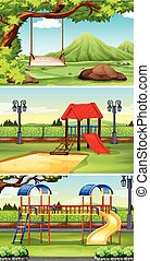 Three scenes of park and playground illustration