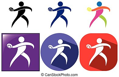Sport icon design for discus throwing