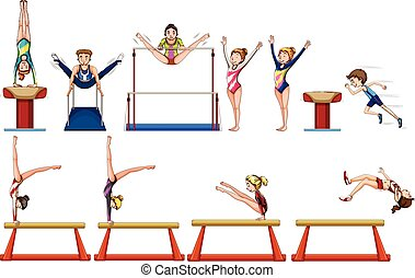 Different types of gymnastics with equipments illustration