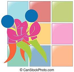 Sport icon design for judo in color illustration