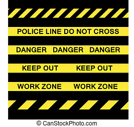 Yellow Caution Tapes - A variety of yellow caution tapes in...
