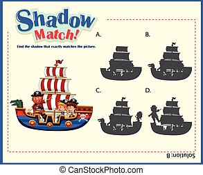 Game template with shadow matching ships illustration