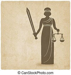 Themis with sword and scales old background. vector...