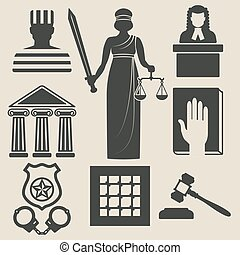 law and justice icons set vector illustration - eps 8
