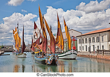 ancient fishing boats in Cesenatico, Emilia Romagna, Italy -...