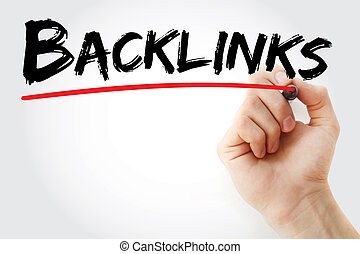 Hand writing Backlinks with marker, business concept