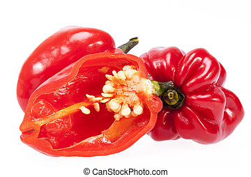 some vegetable of red chili pepper habanero isolated on...