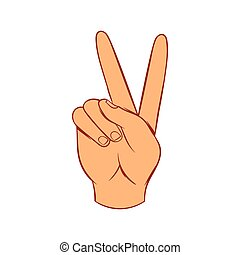 Hand with victory sign icon, cartoon style