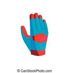 Blue glove of the goalkeeper icon, cartoon style