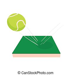 Flying tennis ball on a green court icon in cartoon style on...